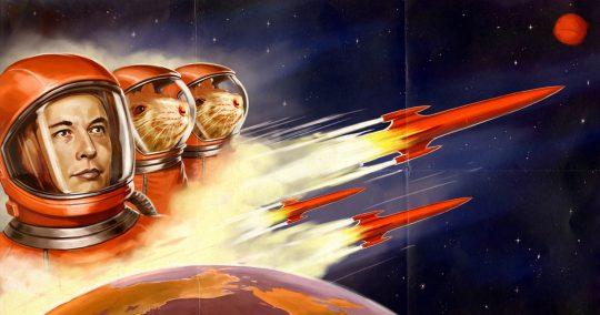 Další důkaz, že záběry z orbitu jsou falšované: Na raketě Falcon 9 od SpaceX pobíhá ve vesmíru myš