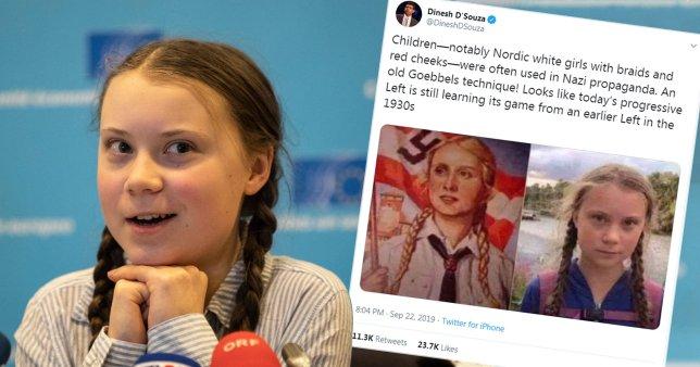 Klimatická aktivistka Greta Thunbergová byla přirovnána k nacistické propagandě